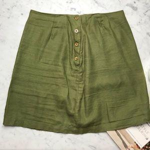 G.H. Bass & Co. Army Green Linen A-Line Skirt 12
